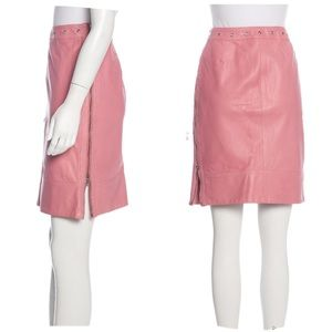 Piazza Sempione pink leather side zip pencil skirt